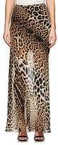 Saint Laurent Women's Leopard-Print Silk Maxi Skirt