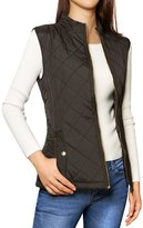 Allegra K Woman Zip Up Stand Collar Slant Pockets Quilted Padded Vest L