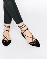Aldo Harmony Black Leather Laser Cut Ghillie Lace Up Flat Shoes