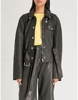 J.W.Anderson Belted longline leather jacket