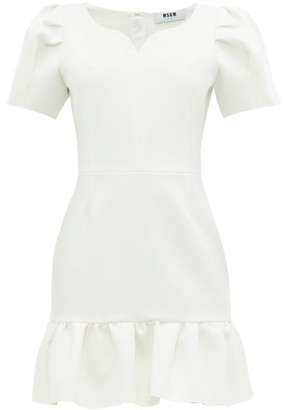 MSGM Sweetheart-neckline Crepe Mini Dress - White