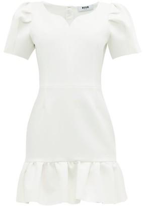 MSGM Sweetheart Neckline Crepe Mini Dress - Womens - White