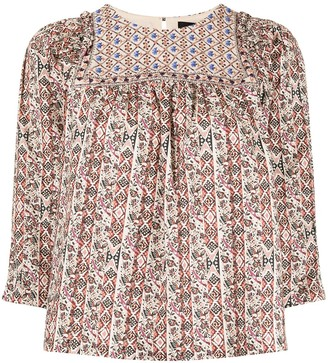 Nicole Miller Partridge stripe embroidered blouse