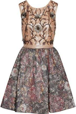 Marchesa Embellished Tulle And Metallic Jacquard Mini Dress
