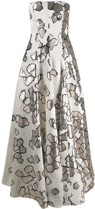Talbot Runhof Strapless Jacquard Gown