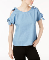 Kensie Cotton Tie-Sleeve Cold-Shoulder Top