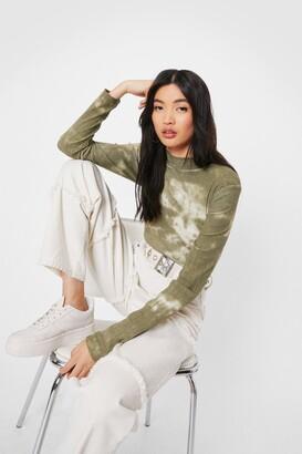 Nasty Gal Womens The Future's Bright Tie Dye High-Leg Bodysuit - Khaki