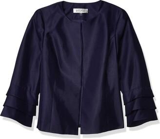 Kasper Women's Shinny Jewel Neck Jacket with Ruffle Sleeve Detail