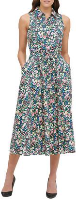 Tommy Hilfiger Women's Casual Dresses SZN - Sky Captain & Pink Floral Sleeveless Tie-Waist Shirt Dress - Women