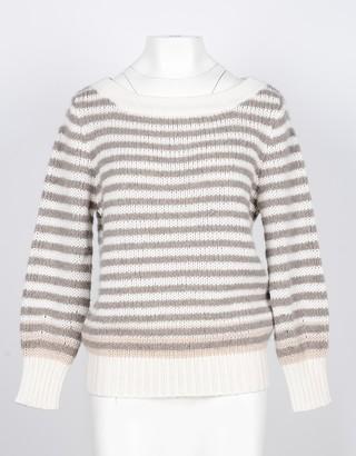Lamberto Losani Beige Striped Cashmer and Silk Blend Women's Sweater