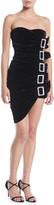 Alexandre Vauthier Sweetheart-Neck Strapless 5-Buckle Ruched Velvet Mini Cocktail Dress