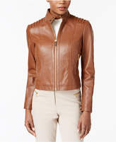 MICHAEL Michael Kors Stand-Collar Leather Jacket