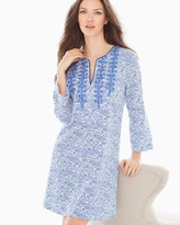 Soma Intimates Printed Pima Cotton Sleep Caftan Blue Linear Reflection