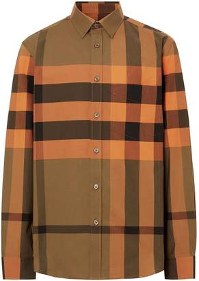 Burberry Check Stretch Cotton Poplin Shirt