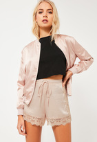 Missguided Nude Lace Detail Silky Shorts