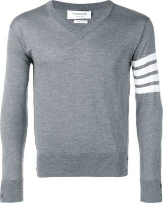 Thom Browne stripe detail V-neck jumper