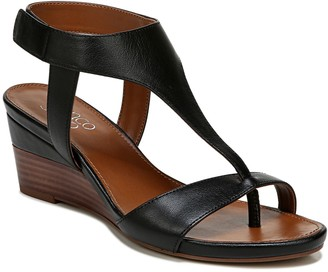 Franco Sarto Leather T-Strap Wedges - Dori