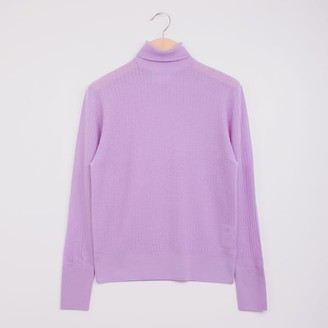 KING & TUCKFIELD Pointelle Roll Neck Lilac - XS