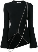 Givenchy asymmetric chain detail cardigan - women - Polyamide/Polyester/Viscose - S