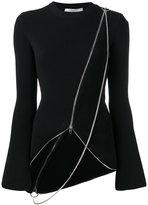 Givenchy asymmetric chain detail cardigan - women - Polyamide/Polyester/Viscose - XS