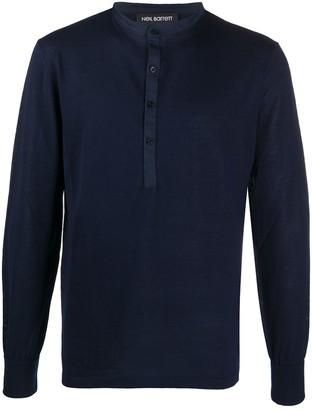 Neil Barrett Henley layered knitted jumper