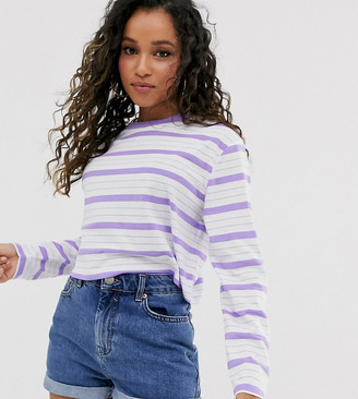 Asos DESIGN Petite crop boxy t-shirt with long sleeve in stripe