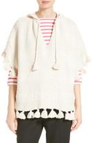 Kate Spade Tassel Hooded Slub Cotton Poncho