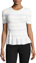 Narciso Rodriguez Stripe-Knit Peplum Top, White