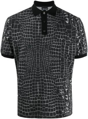 Just Cavalli Crocodile Print Polo Shirt