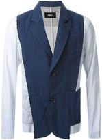 Yang Li contrast blazer - men - Cotton/Linen/Flax - 48