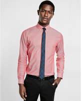 Express fitted micro print pocket dress shirt