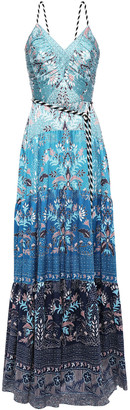 Peter Pilotto Belted Printed Hammered Stretch-silk Satin Gown