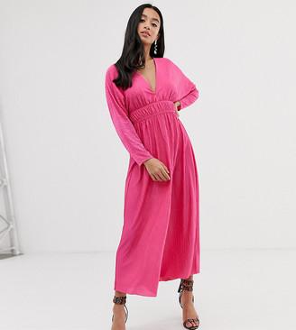 Asos DESIGN Petite spot plisse elasticated waist maxi dress-Pink