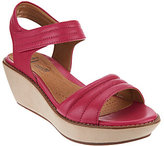 Clarks As Is Leather Quilted Strap Wedge Sandals - Hazelle Alba