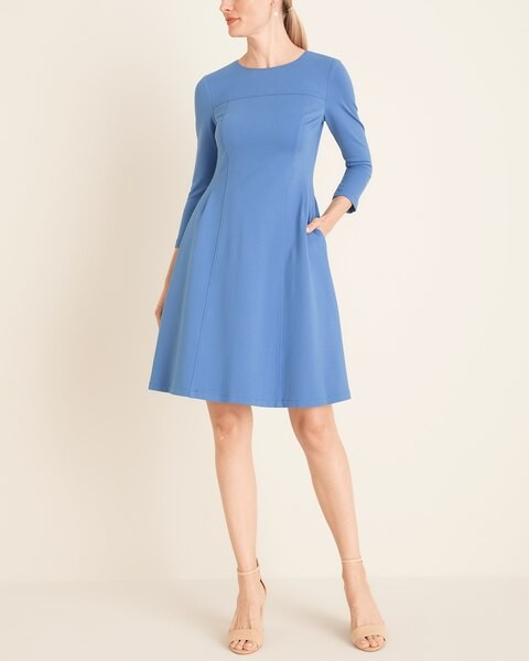Eliza J Solid Fit-and-Flare Dress
