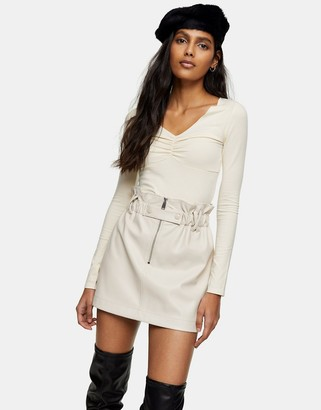 Topshop faux-leather zip detail paperbag mini skirt in cream