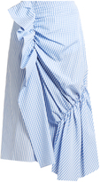 J.W.Anderson Gingham and striped cotton-poplin skirt