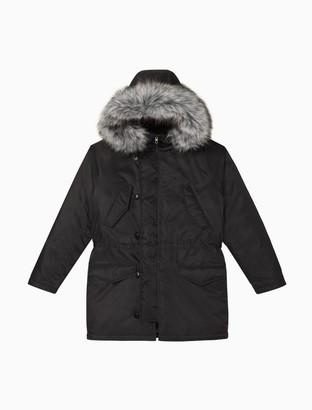 Calvin Klein Nylon Faux Fur Hooded Parka Jacket
