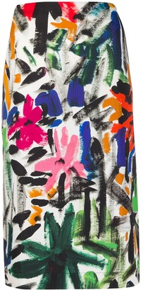 Marni Straight Fit Floral Skirt