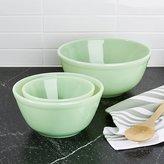 Crate & Barrel Mosser Jadeite Mixing Bowls Set of Three