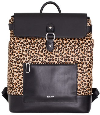Jeff Wan Le Morne Backpack Leather Hair Calf Leopard Black