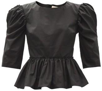 Brock Collection Seva Puff-sleeved Cotton-poplin Top - Black