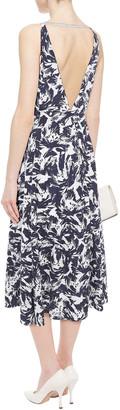 Roland Mouret Pleated Printed Taffeta Midi Dress