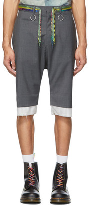R 13 Grey Low Crotch Shoelace Belt Shorts