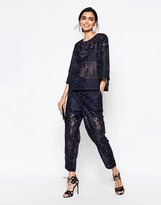 Ganni City Hall Lace Peg Pants in Dress Blues
