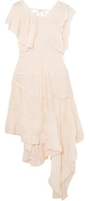 Chloé Asymmetric Lace-trimmed Silk-blend Dress