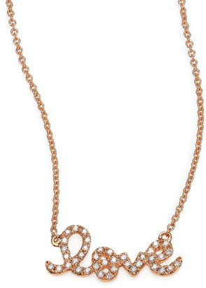 Sydney Evan Love Diamond & 14K Rose Gold Necklace