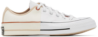 Converse White and Off-White Reconstructed Chuck 70 Low Sneakers