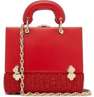 Rodo Sixty-six Small Wicker & Leather Box Bag - Red
