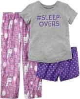 Carter's Girls 4-14 Tee, Bottoms & Shorts Pajama Set